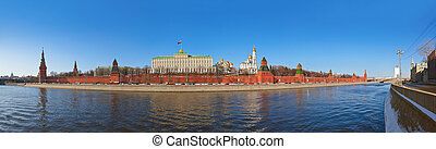 Panorama of Kremlin in Moscow (Russia) at winter