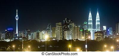 Kuala Lumpur - Panorama of Kuala Lumpur at night. Malaysia