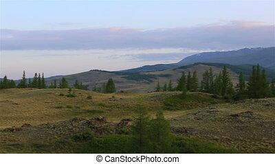 Panorama of Kuray mountain range at dawn. - Panorama of...