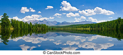 Panorama of lake, Altai, Russia