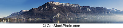 Panorama of lake annecy and mountains in france