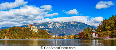panorama of lake Bled in Slovenia