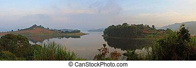 Panorama of Lake Bunyoni in Uganda