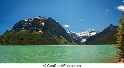 Lake Louise surrounded by mountain peaks and glaciers