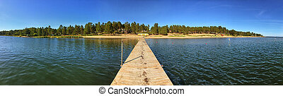 Panorama of Lake Pier on a Sunny Summer Day