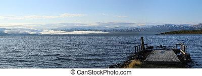 Panorama of Lake Tornetrask at Abisko in Sweden