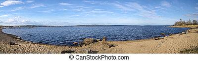 Panorama of lake with sandy beach