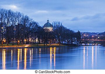Panorama of Liege along Meuse River. Liege, Wallonia,...