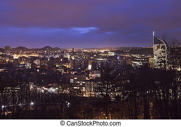 Panorama of Liege at night. Liege, Wallonia, Belgium.