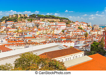 Panorama of Lisbon old city center. View of the St George's Castle (Castelo de Sao Jorge), popular landmark, Portugal