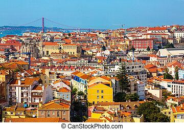 Panorama of Lisbon old town viewed from Miradouro da Graca ...