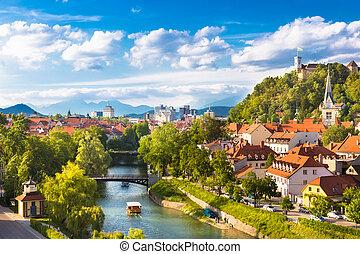 Panorama of Ljubljana, Slovenia, Europe.