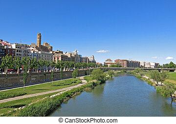 Panorama of Lleida city, Catalonia, Spain. - Panorama of...