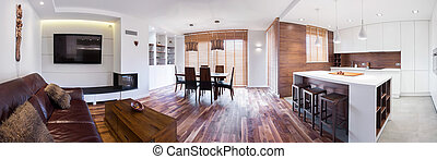 Panorama of lounge - Panorama of wooden modern lounge...