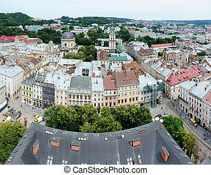 Panorama of Lvov old town,Ukraine
