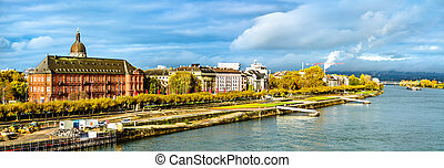 Panorama of Mainz with the Rhine river in Germany