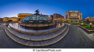 Panorama of Manege Square and Moscow Kremlin in the Evening, Mos