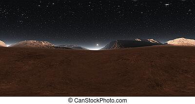 Panorama of Mars sunset, environment 360° HDRI map. ...