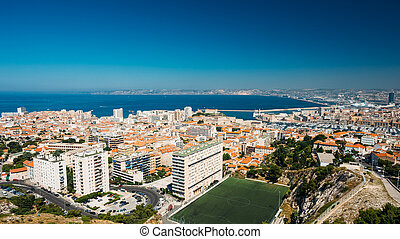 Panorama of Marseilles, France. Sunny summer day with bright...