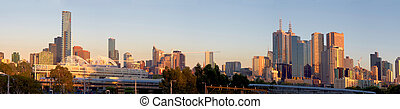 panorama of melbourne on a beautiful summer morning