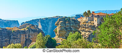 Panorama of Meteora in Greece - Panorama of Meteora with ...