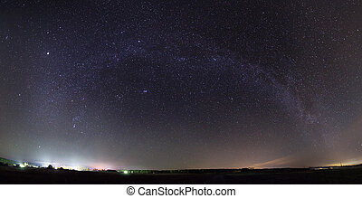 Panorama of Milky Way over the field