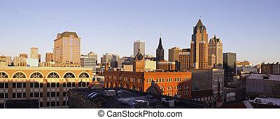 Panorama of downtown Milwaukee - seen during sunset