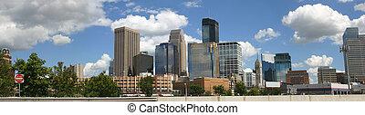Panorama of Minneapolis skyline viewed from the northwest -...