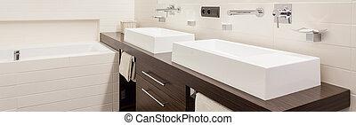 Panorama of modern bathroom