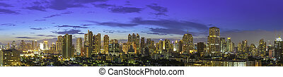 Panorama of modern high building of bangkok business city center at twilight. Picture for add text message. Backdrop for design art work.