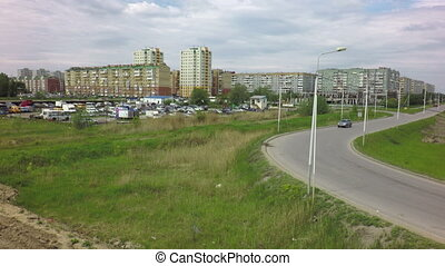 Panorama of modern residential district on the Left Bank....