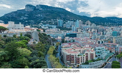 Panorama of Monte Carlo day to night timelapse from the...
