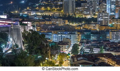 Panorama of Monte Carlo timelapse at night from the observation deck in the village of Monaco near Port Hercules.