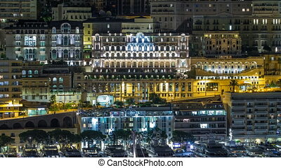 Panorama of Monte Carlo timelapse at night from the...