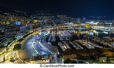 Panorama of Monte Carlo timelapse hyperlapse at night from...