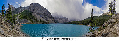 Panorama of Moraine Lake in Banff National Park Alberta Canada