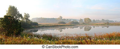panorama of morning lake in fog