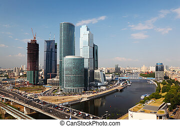 panorama of Moscow City complex of skyscrapers in Moscow, Russia