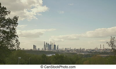 Panorama of Moscow City from sparrow mountains.