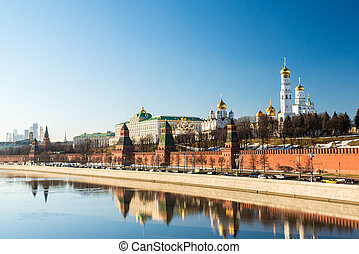 Panorama of Moscow Kremlin on sunny day, Russia