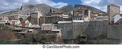 Panorama of Mostar Old Town