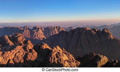 Panorama of Mount Sinai in Sinai Peninsula of Egypt. Dawn of...
