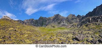 Panorama of mountain circus. Barun-Handagay. TUNKA ridge. Sayan mountains. Republic of Buryatia