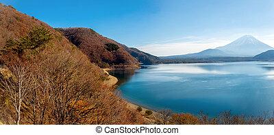 Panorama of Mountain Fuji fujisan with Motosu lake