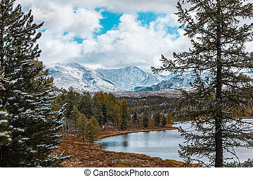 Panorama of mountain lake on background of beautiful snowy mountain peaks in cloudy weather. Mountain lake in the forest. View of lake on the background of blue sky