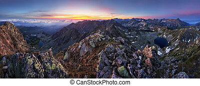 Panorama of mountain landscape in Tatras at sunrise