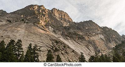 Panorama of mountain peak at sunset