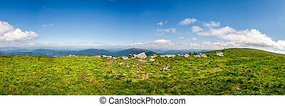panorama of mountain ridge in summer - panorama of mountain....
