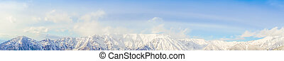 Panorama of Mountain Snow Landscape with Blue Sky ,Japan
