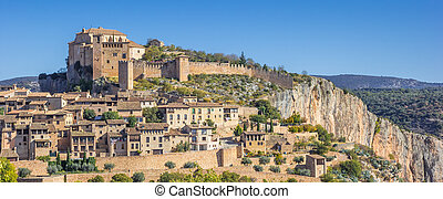 Panorama of mountain village Alquezar in the Spanish Pyrenees